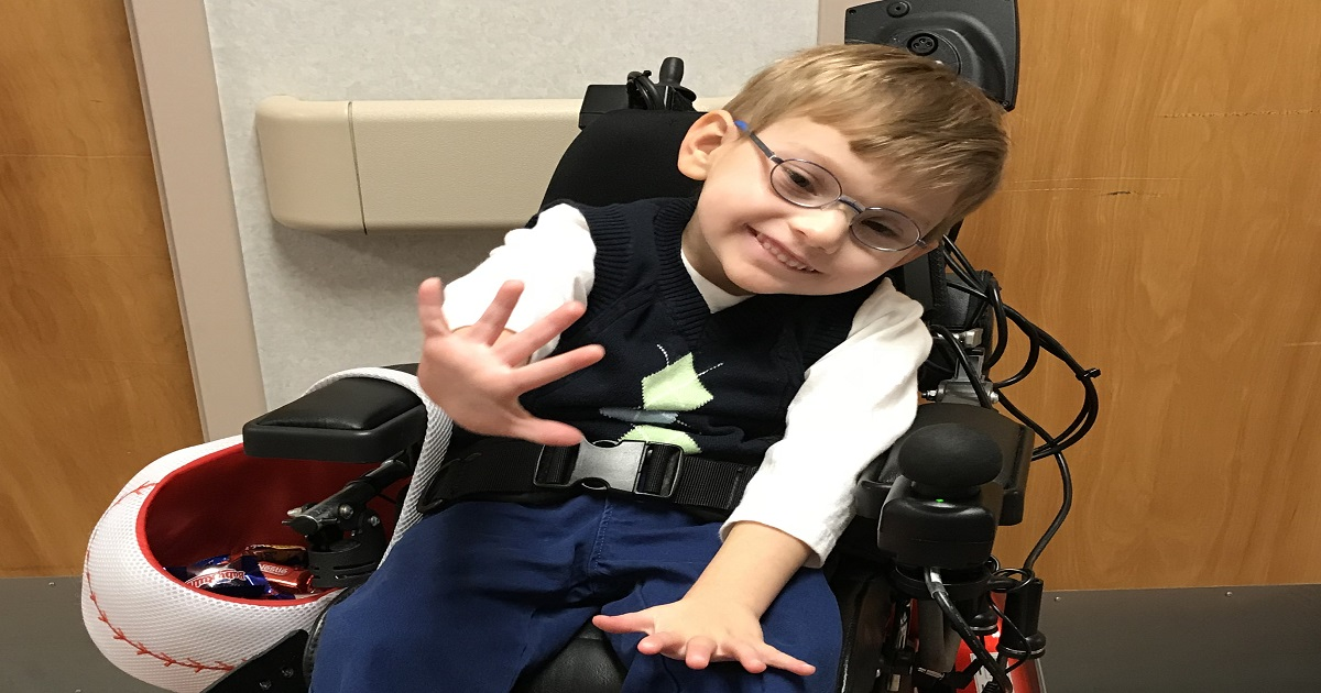 Beau Kirby is on the move after wheelchair therapy at Patricia Neal Rehabilitation Center.